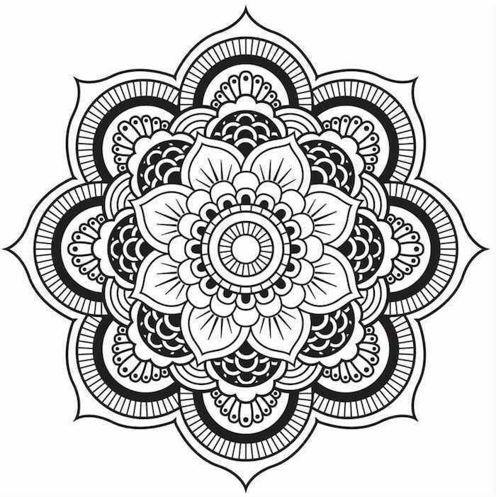 mandalas zum ausdrucken, große blume, mehndi zeichnen, ausmalbild