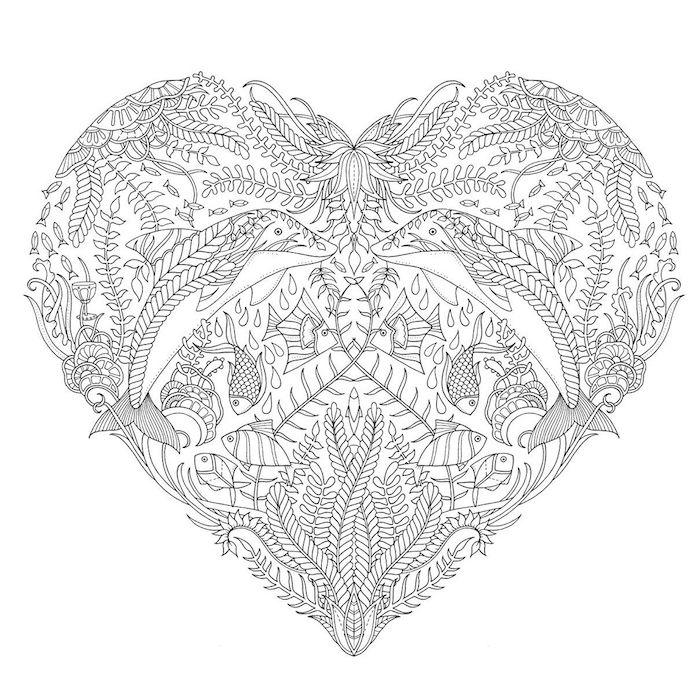 mandalas zum ausdrucken, herz aus vielen elementen, kleine fische, blumenranken