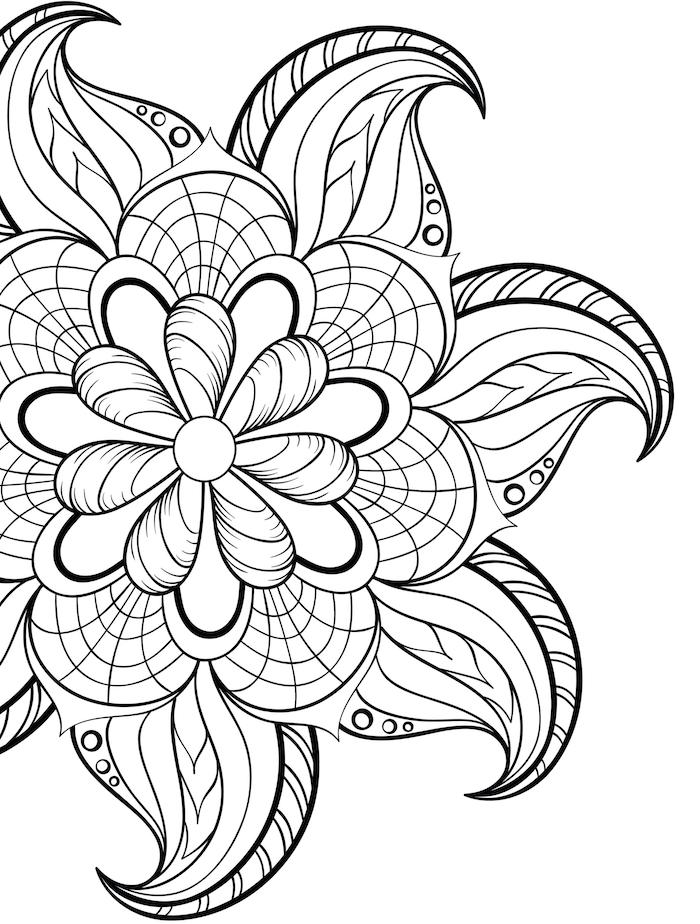 mandalas zum ausdrucken, große blume, schwarze linien, weißer hintergrund