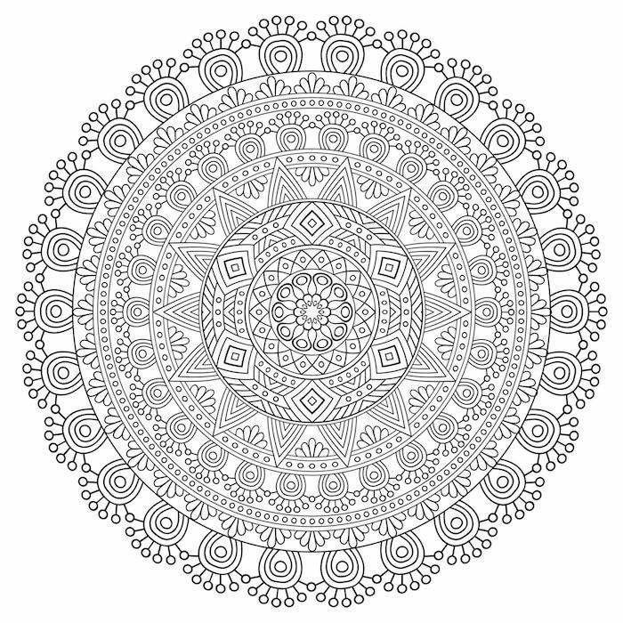 mandalas zum ausdrucken, detailierte vorlage, geometrische elemente, dreiecke und kreise