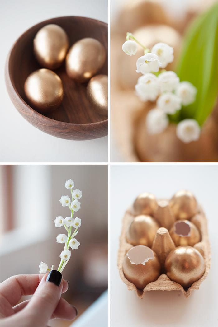 osterdeko selber machen, goldene eier, kleine weiße blumen, diy vasen