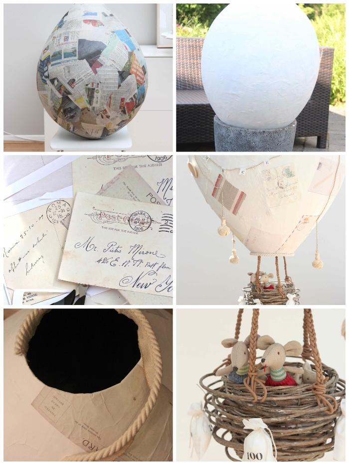 basteln mit papier, pappmache luftballon selber machen, briefumschgläge in vintage stil