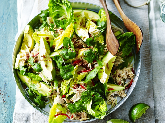ein gemischter Salat, Avocado Rezepte Salat, Fleisch, Petersilien und Limettensaft