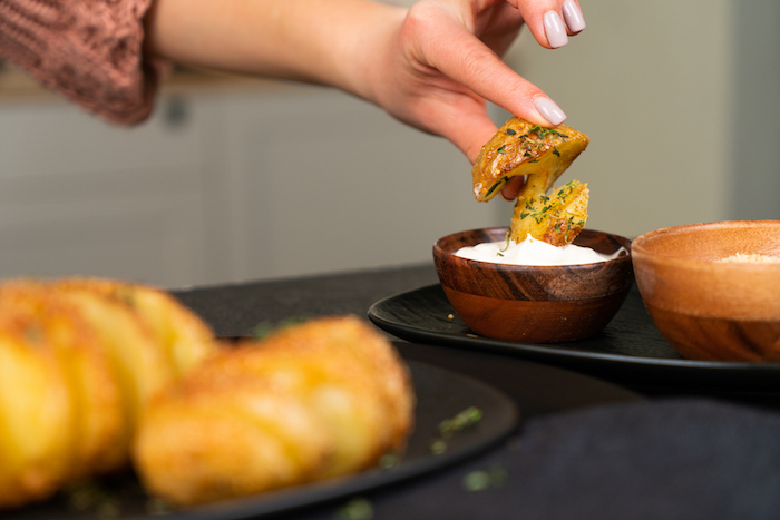 Knusprige Kartoffeln aus dem Ofen, mit frischem Thymian, schnelle Fingerfood Ideen