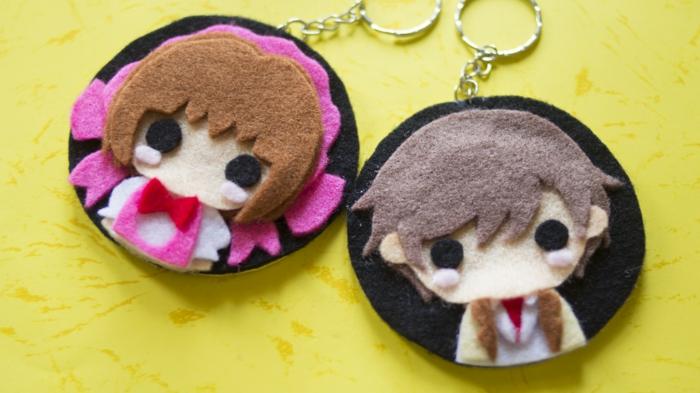 Cardcaptor Sakura Schlüsselanhänger basteln aus Filz, zwei anime Gesichter