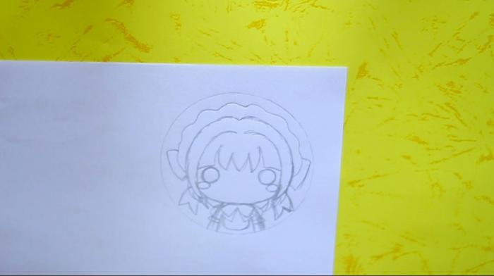 zeichnen Sie ein Anime Mädchen Kopf, Schritt Eins von der Anleitung für Schlüsselanhänger basteln