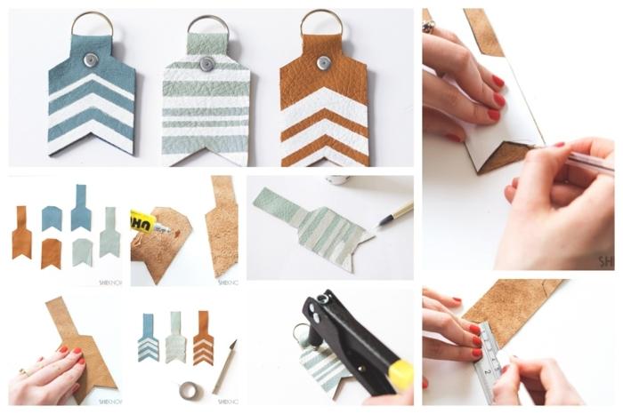 ein Collage, wie Sie DIY Schlüsselanhänger aus Leder selber herzustellen
