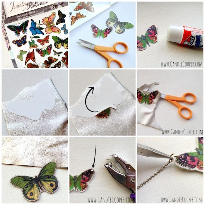 Schmetterling Anhänger selber machen, Schmetterling aus Leder schneiden, handgemachte Halskette