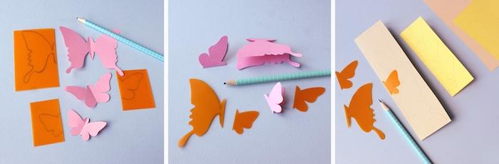 Schmetterlinge mit Bleistift auf buntes Papier zeichnen und ausschneiden