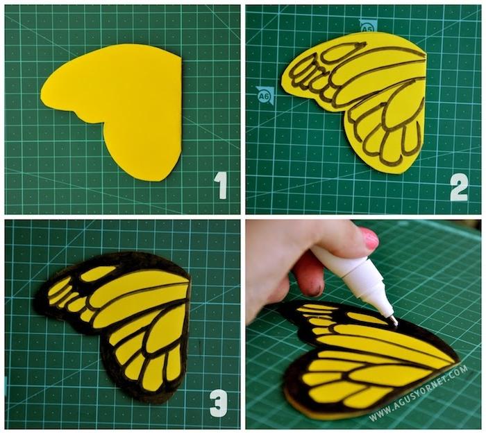 Schmetterlinge ausmalen, gelb und schwarz, DIY Anleitung in vier Schritten