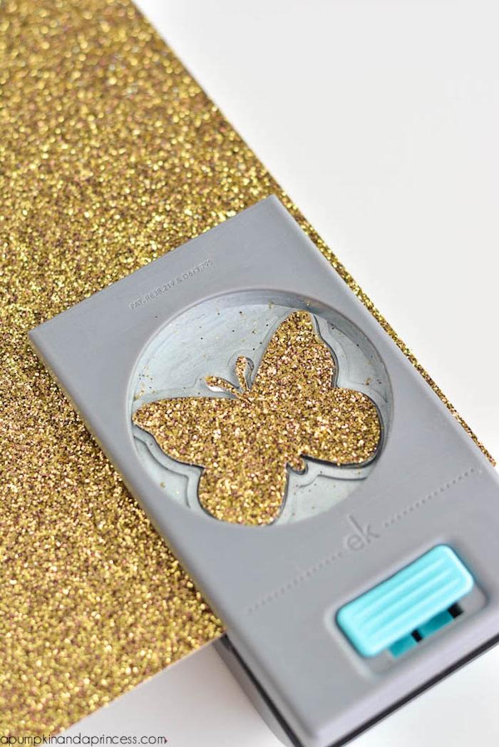 Glitter Schmetterlinge ausschneiden, schöne Deko für den Tisch oder die Wand