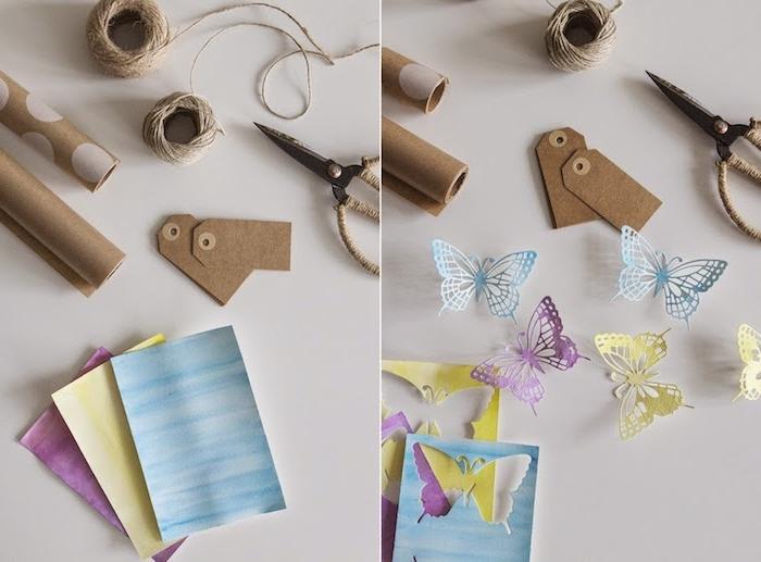Schmetterling Vorlage ausschneiden, Geschenkverpackung derkorieren