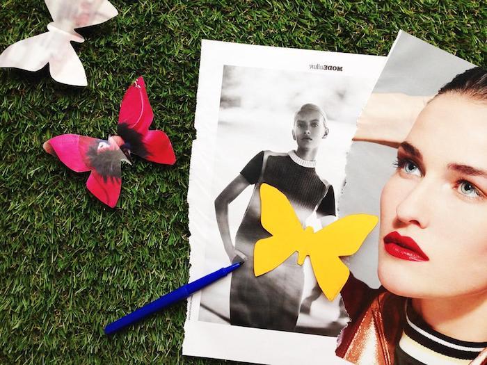 Schmetterlinge aus buntem Papier ausschneiden und falten, 3D Schmetterling gestalten