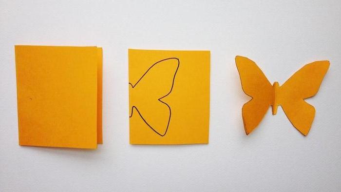 3D Schmetterlinge selber machen, Papierbogen in der Mitte falten, Schmetterling zeichnen und ausschneiden