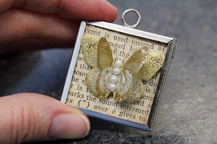 Einzigartiger Anhänger mit goldenem Schmetterling mit Perlen, DIY Idee für Erwachsene
