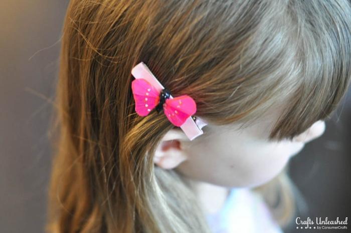 Haarklammer mit Schmetterling, selbstgemachter Haarschmuck für Kinder