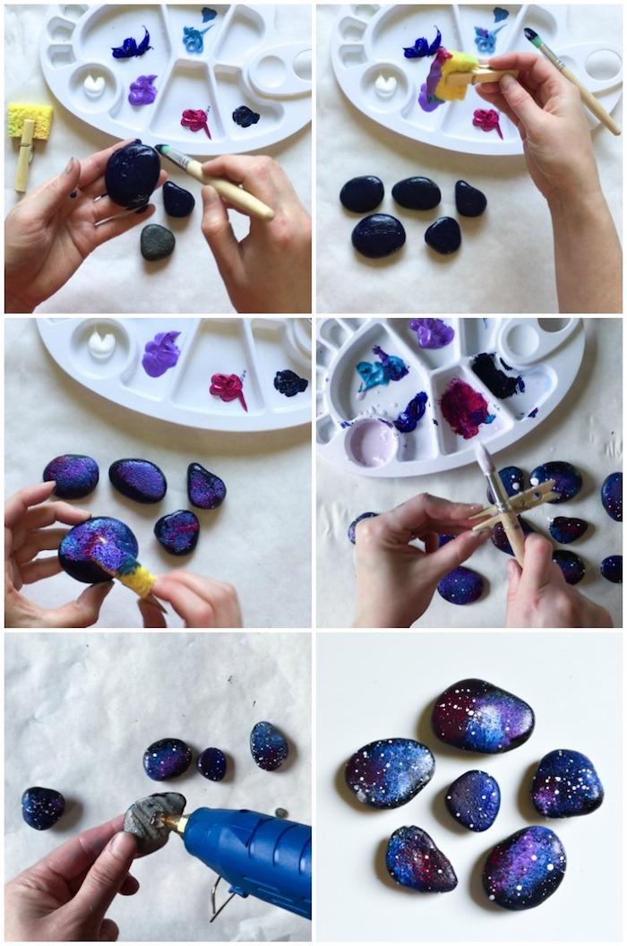 Steine bemalen, Nachhimmel gestalten, schöne Deko für den Garten und für jeden Raum