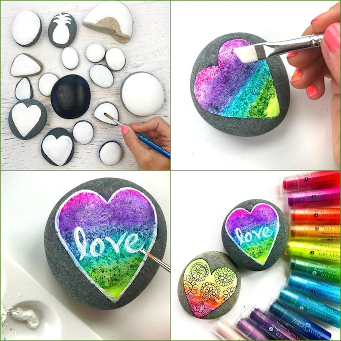 Coole Technik wie man Steine dekoriert, buntes Herz malen, Aufschrift Liebe