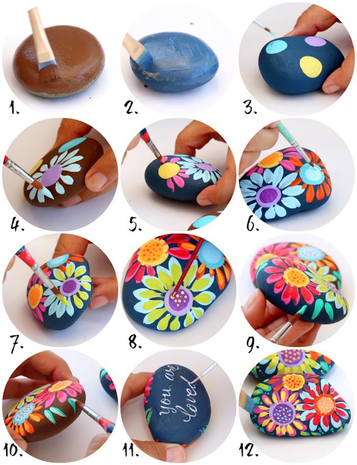 Steine selbst vertieren, DIY Anleitung in zwölf Schritten, bunte Blumen zeichnen