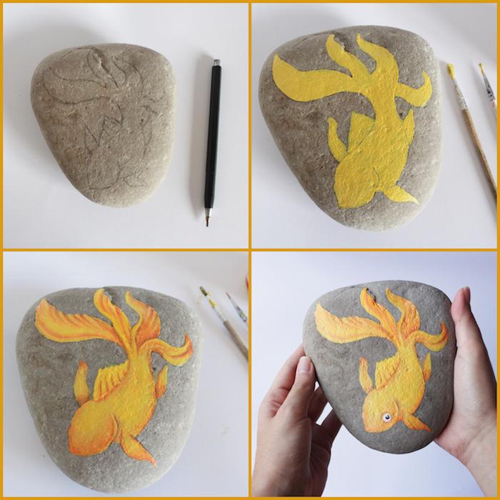 Steine bemalen, Anleitung in vier Schritten, goldenen Fisch mit Acrylfarbe zeichnen