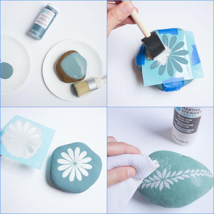Steine selbst bemalen und dekorieren mithilfe Schablone, schönes Blumenmotiv