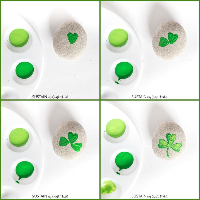 Steine bemalen, Anleitung in vier Schritten, Kleeblatt mit grüner Farbe zeichnen