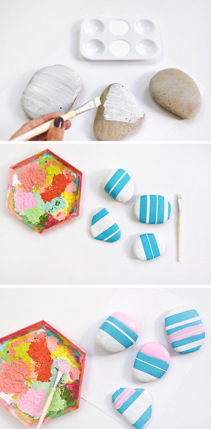 Steine mithilfe Klebeband dekorieren, mit rosa Farbe bemalen, DIY Anleitung in drei Schritten