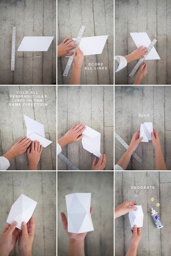 tischdeko selber machen, collage aus bildern, origami vase falten, bastlen mit papier
