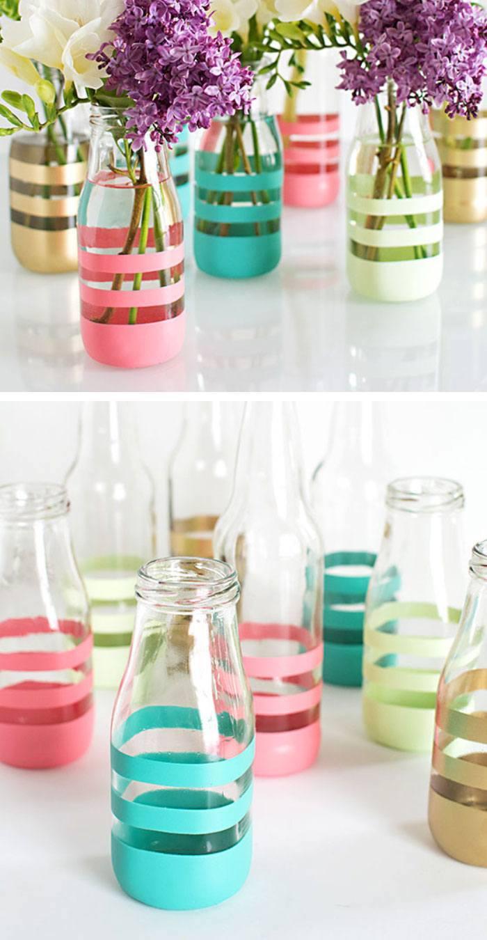 glasflaschen in vasen verwandeln, tischdeko selber machen, frühlingsdeko