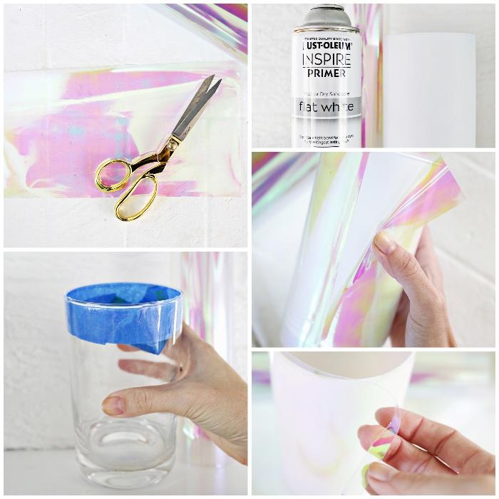 tischdeko sleber machen, glasvase mit chrome papier dekorieren, spray kleber