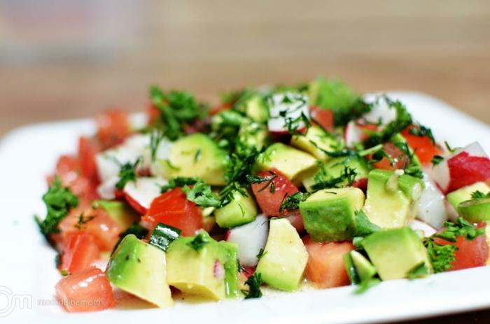 Tomaten, Radierchen, Frühlingszwiebel, Avocado Tomaten Salat, Dill als Dekoration