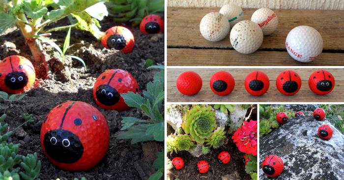 upcycling ideen zum selbermachen, golfbälle recycleln, rote marinenkäfer, grüne pflanzen