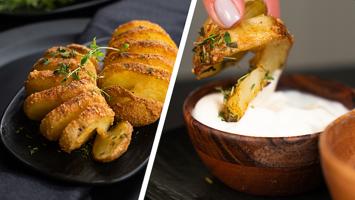 Knusprige Hasselback-Kartoffeln mit Parmesan und frischem Thymian, gelungene vegetarische Vorspeisen