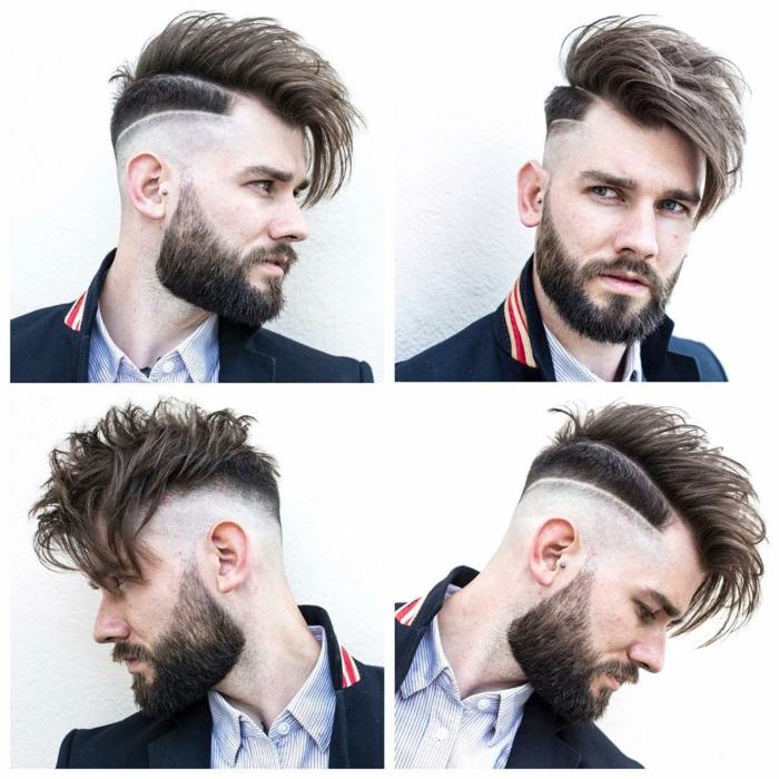 cooler Mann, vier Fotos aus vier Ecken, Herren Frisuren 2018, Frisur mit Bart kombiniert