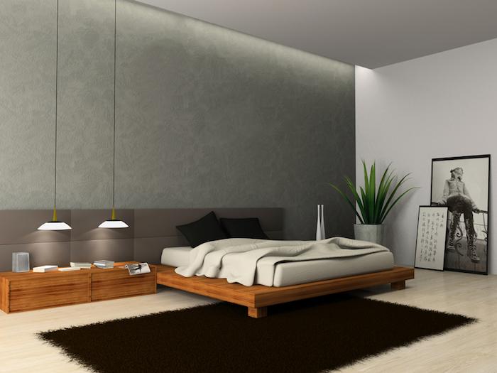 wand grau streichen, zwei hängelampen, bett mit langem nachttisch, schwarzer teppich