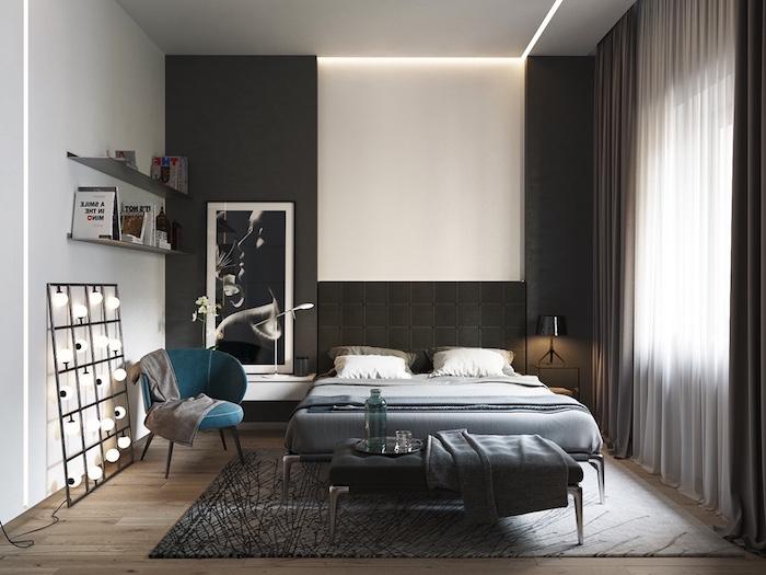wand grau streichen, kleines schlafzimmer einrichten, schwarzes bett, gardinen