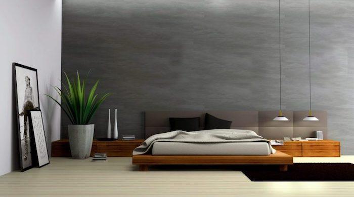 wand grau streichen, blumentopf aus beton, grüne pflanze, minimalistisches schlafzimmer