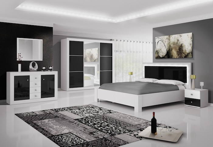 schlafzimmer in schwarz und weiß einrichten, wand grau streichen, möbel set