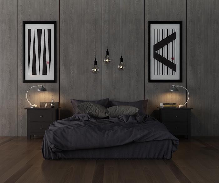 schwarze bettwäsche, zwei bilder mit geometrischen motiven, wand grau streichen