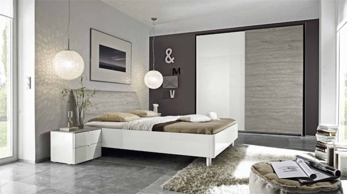 wand grau streichen, schlafzimmer einrichten und ekorieren, händende kugellampen, möbel set