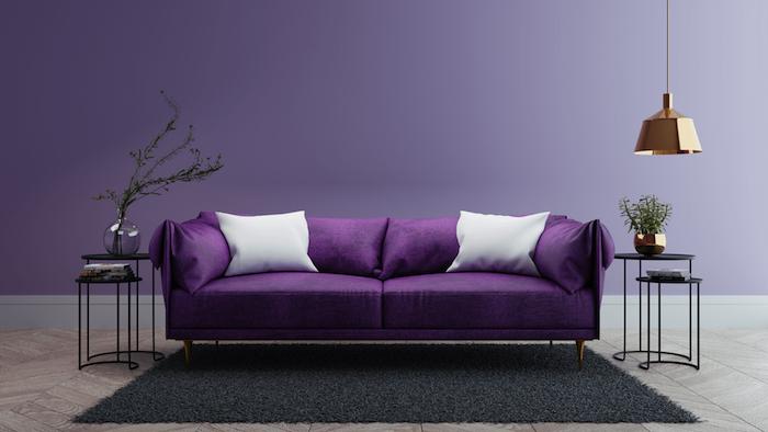 schwarzer teppich und ein wohnzimmer mit violetten wänden und einem violetten sofa mit weißen und violetten kissen und eine lampe, wandfarbe wohnzimmer