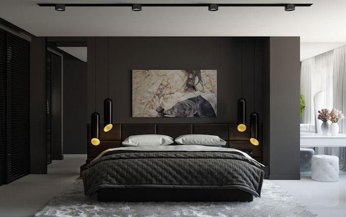 wandfarbe anthrazit, schwarze hängelampen, großes abstraktes bild, schlafzimmer deko