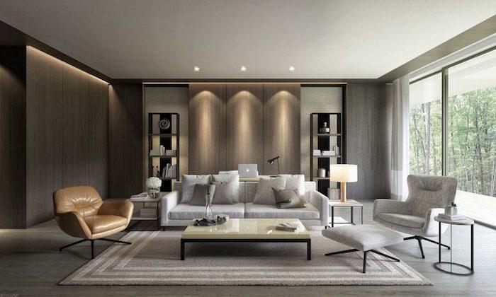 wandfarbe grau, wohnzimmer beleuchtung, einrichtingsideen, weißes sofa