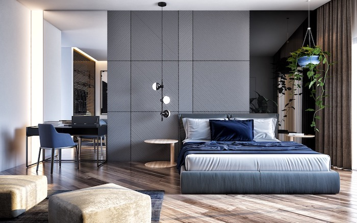 wandfarbe grau, schwarze hängelampe, schlafzimmer einrichten, boden aus holz