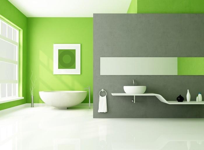 wandfarbe grautöne, badezimmer einrichtung in grpn und grau, minimalistischem design