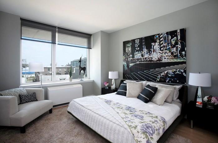wanddeko im schlafzimmer, großes bild, wandfarbe hellgrau, kleines zimmer einrichten