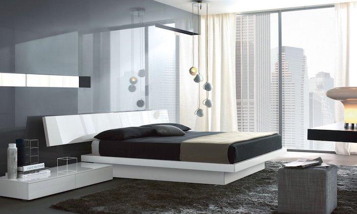 wandfarbe hellgrau, schlafzimmer in weiß und schwarz, pendelleuchte, großer fenster