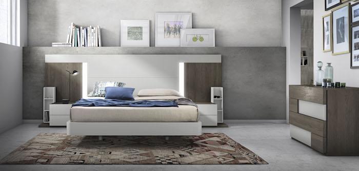 wandfarbe hellgrau, bett mit led beleuchtung, schlafzimmer einrichten, möbel set