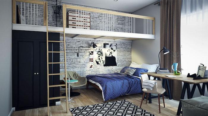wandgestaltung jugendzimmer, weiße ziegelwand, blaue bettwäsche, einrichtungsideen