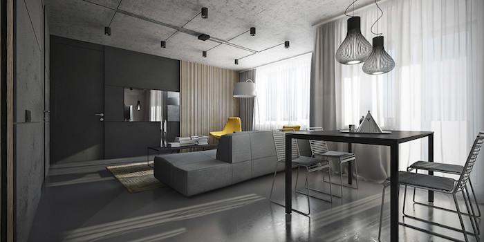 wandgestaltung wohnzimmer grau, gelber sessel, pendelleuchten über dem tisch, vier stühle